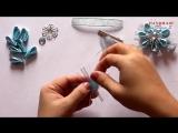 Зажимы Снежинка. МК. Канзаши. _ DIY Kanzashi. Snowflake Hairclip