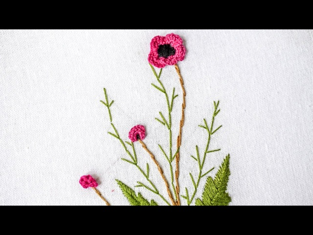 Brazilian Embroidery | Stitching Flower Design by Hand | HandiWorks 98