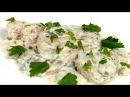 Куриное филе в сливочно-грибном соусе. Простой рецепт горячей закуски.