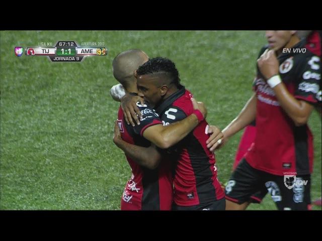 Miller Bolaños debuta en la Liga MX y pone el 1-1 entre Xolos y América