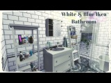 Sims 4 - Blue &amp White Ikea Bathroom (build &amp Decoration for download + CC Links)