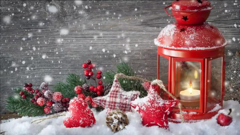 Футаж новогодний: фонарик, звёздочки и падающий снег