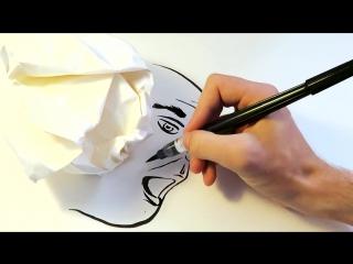 Как создавать полноценные рисунки с помощью тени от скомканного листочка бумаги