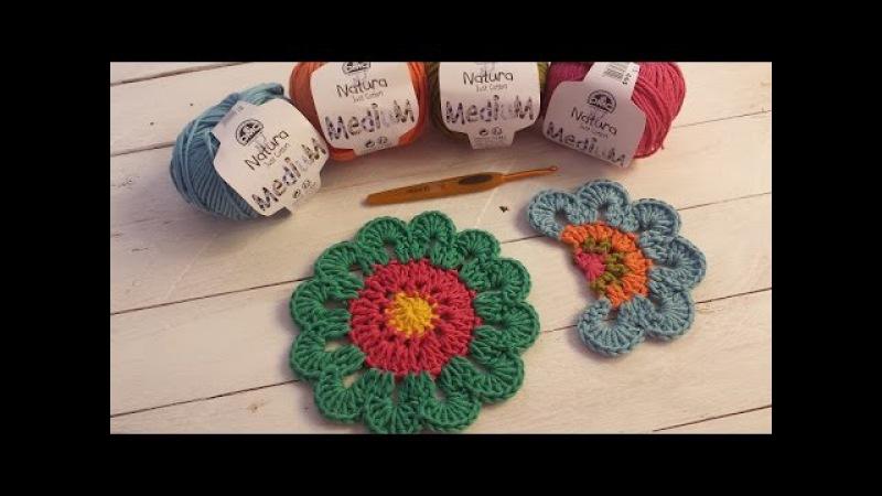 Aprende a tejer una flor con cenefa de colores I Flower Power I (ENGLISH SUB! cucaditasdesaluta