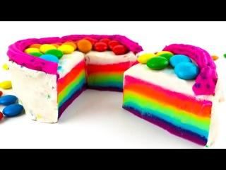 Лепим торт Радуга из пластилина Изучаем цвета Learning colors making a rainbow cake from clay