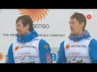 Россия, Италия, Финляндия - цветочная церемония мужского командного спринта - Лыжный ЧМ - Лахти 2017