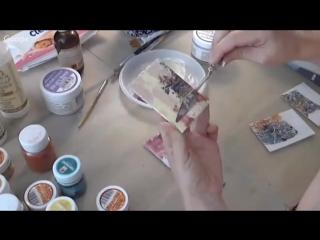 Пигменты в микс медиа и декупаже_ видео урок Натальи Жуковой с обменными карточками художника