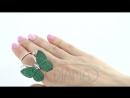 1 1011 5067 зел Серебряное кольцо в форме зеленой бабочки с живыми крыльями