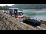 Drone witnesses an idiot TESLA X driver on Tai Tam Dam Hong Kong 大潭水壩遇上巴士