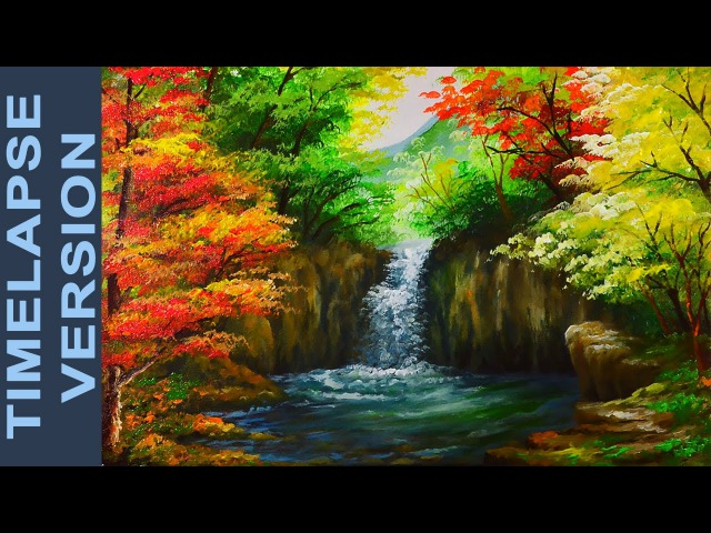 Water Falls In Autumn Forest - Acrylic Painting Tutorial TIMELAPSE VERSION