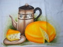 Pintura em tecido chaleira e queijo