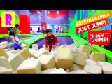 БАТУТНЫЙ ЦЕНТР в МОСКВЕ Just jump Ривьера Москва Парк развлечений БАТУТ бассейн с кубиками HappyRoma