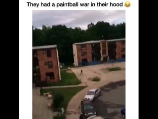 Они устроили пейнтбольную войну на районе