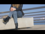 PrincessWalks - Harbour Relaxing In Studded Leather Boots - Hot Blonde Girl In D