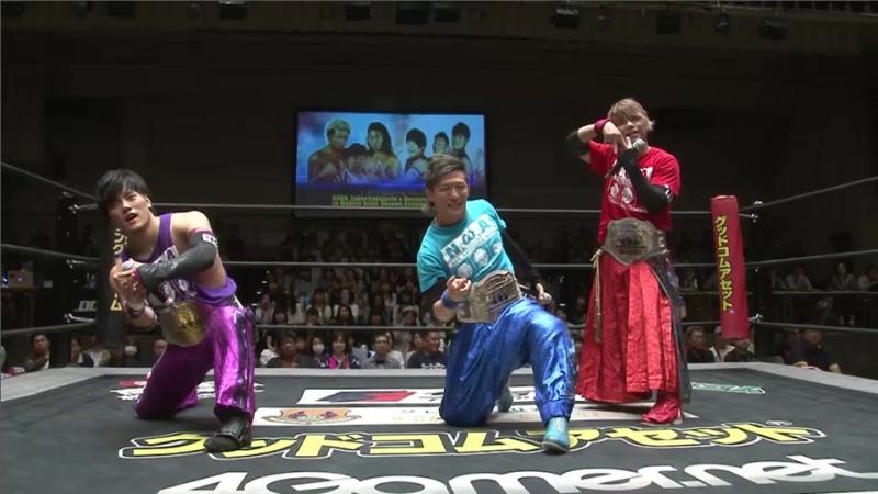 Makoto Oishi, Shunma Katsumata, MAO (c) vs. KUDO, Yukio Sakaguchi, Masahiro Takahashi (DDT - KING OF DDT 2017)