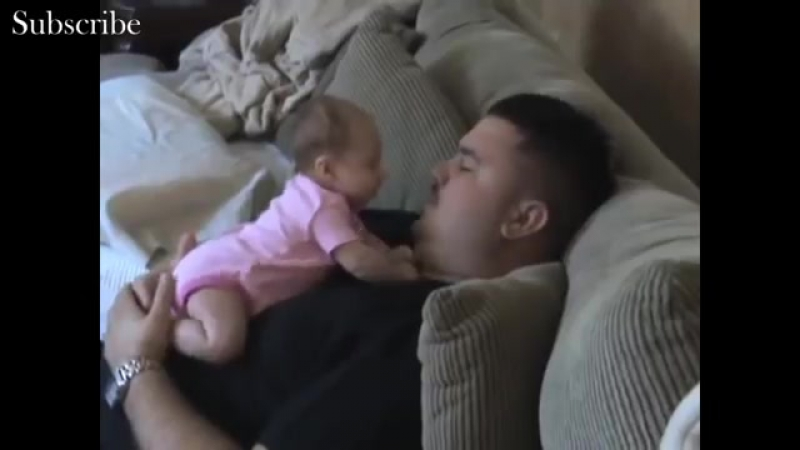 Cute baby angry on daddy