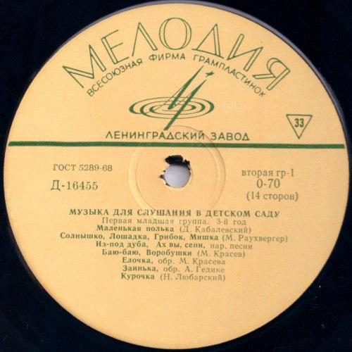 VA - Музыка для слушания в детском саду (1965) [FLAC|Lossless]<Folk, Classical>