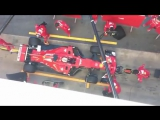 Sebastian Vettel in action and returning to the pits, during today.