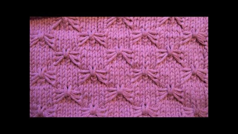 Рельефный узор Бабочки Вязание спицами Видеоуроки