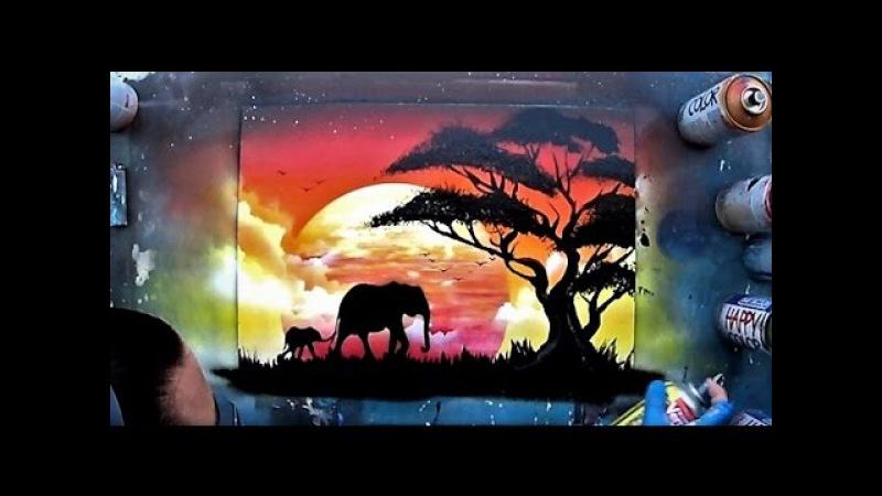 African sunset - Spray paint ART by Skech