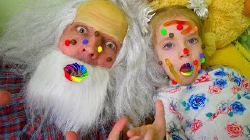 Заболела скитлстрянкой заразила деда Дедушка лечит как доктор Bad baby KIDS Children ДЛЯ ...