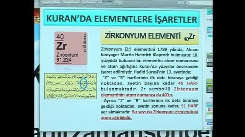 Kuran mucizeleri Kuran'da elementlere işaretler zirkonyum elementi