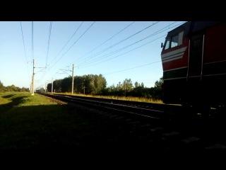 Электровоз ЧС4т-559 с фирменным поездом Белый Аист