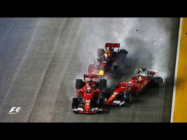 Vettel Verstappen Raikkonen Crash In Dramatic Start 2017 Singapore Grand Prix
