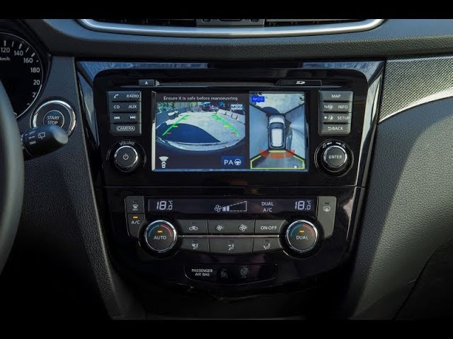 Nissan X-trail, Qashqai 2014 Работа системы кругового обзора Автомагнитола Redpower 31301