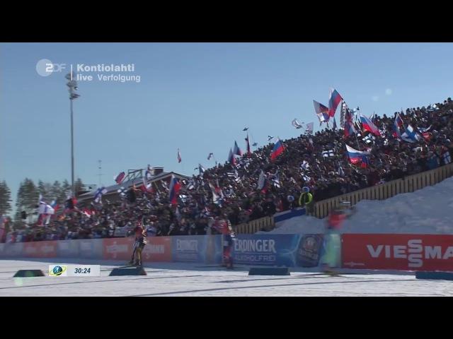 Kontiolahti-2017. Arnd Peiffer wins pursuit. Super finish Peiffer-Eder-Svendsen