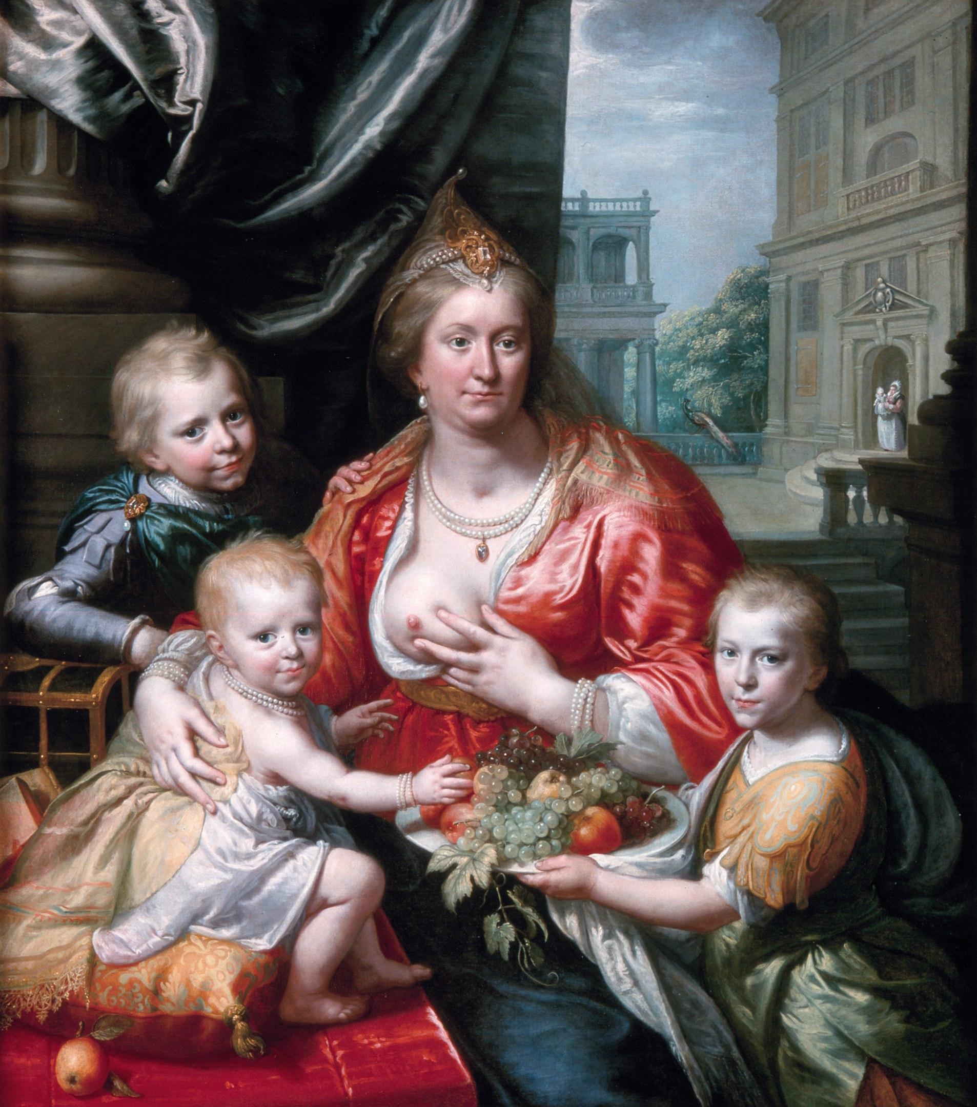 Две версии портрета Софии Гедвиги Брауншвейг-Вольфенбюттельской с детьми