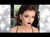 Вечерний макияж с темно-фиолетовой помадой