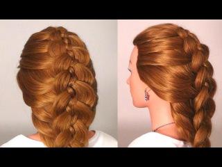 прическа коса из бантиков