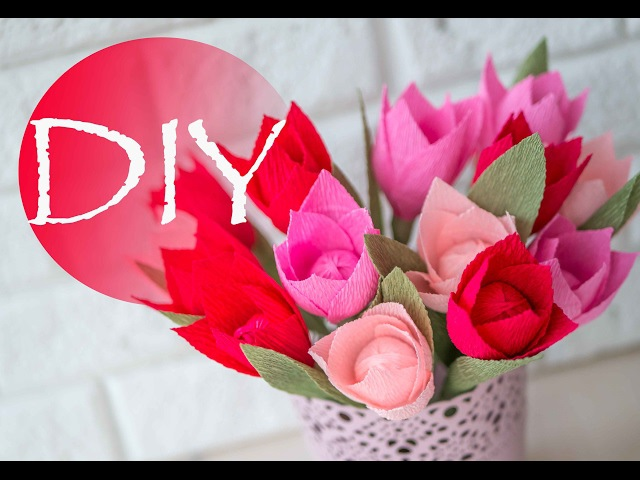 Тюльпаны из гофры легко делать с детьми к 8 марта Crepe paper DIY Tsvoric