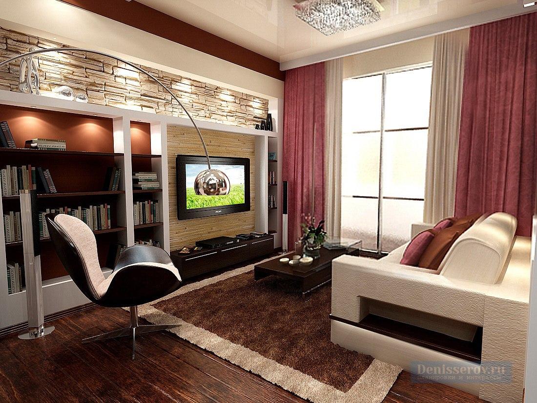 Необычная перепланировка 1-комнатной квартиры в студию 45 м.