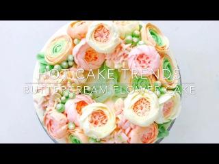 ( https://vk.com/lakomkavk) Ranunculus and Hydrangea Buttercream flower cake - how to make by Olga Zaytseva