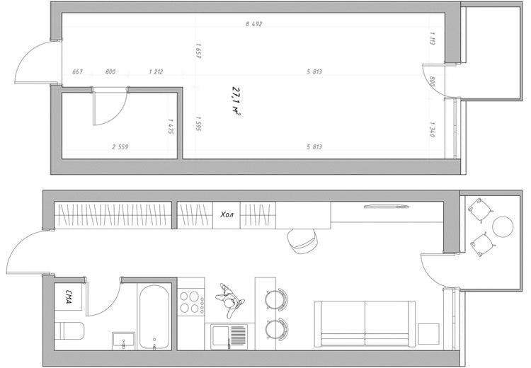 Концепт квартиры 27 м.