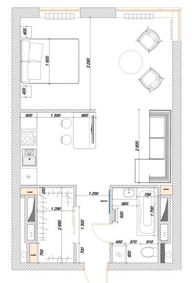Проект квартиры 43 м.