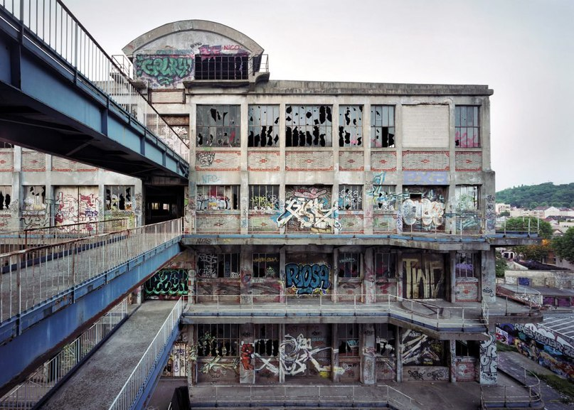 Graffiti-covered Les Magasins Généraux warehouse in Paris