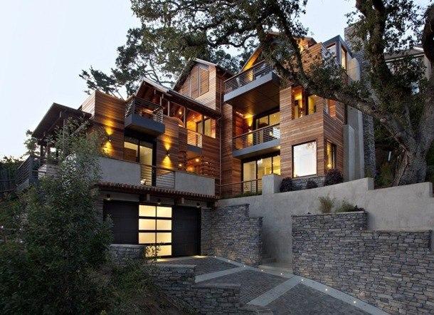 Дом Hillside, расположенный на холмах Mill Valley