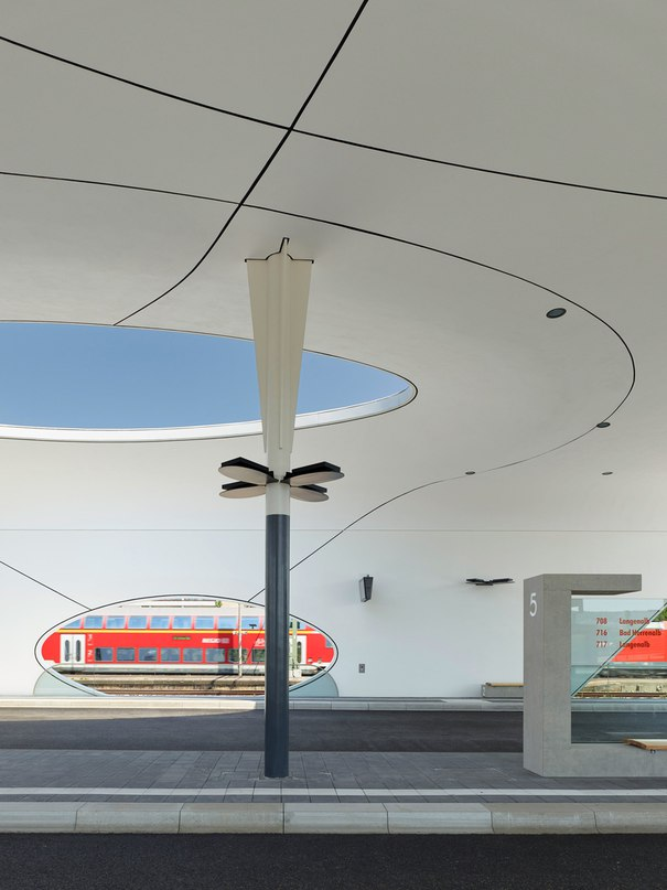 Shell-like roofs provide shelter at Pforzheim Central