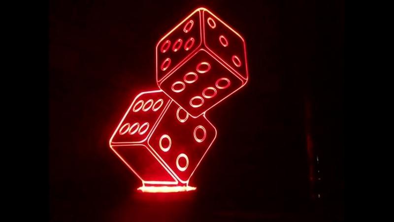 3д Светильник Игральные кости в сборе с 3-х цветной подсветкой