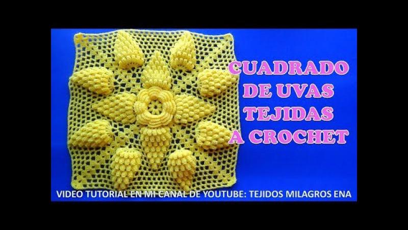 Cuadrado de Uvas a crochet paso a paso para Colchas y Cojines VIDEO TUTORIAL
