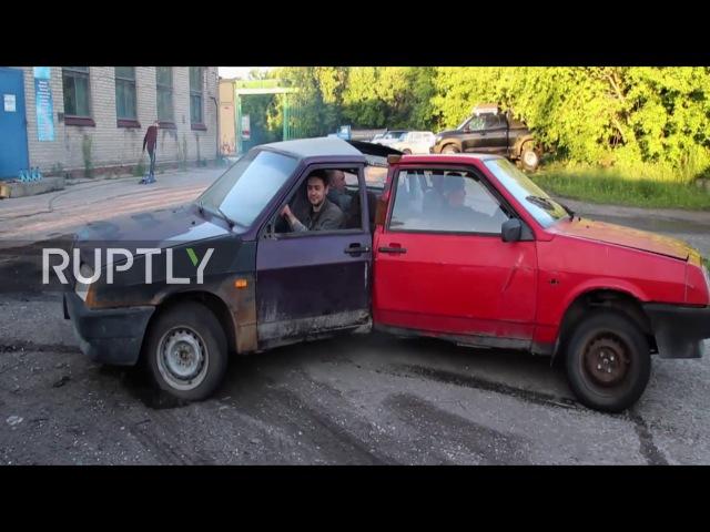 Let it spin! Automotive fidget spinner burns rubber in Novosibirsk