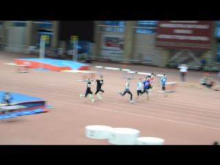 Финал бега на 60 метров среди юношей 2002-2003 г.р. в Тюмени на матчевой встрече Сибири и Урала 3.12.2016 г