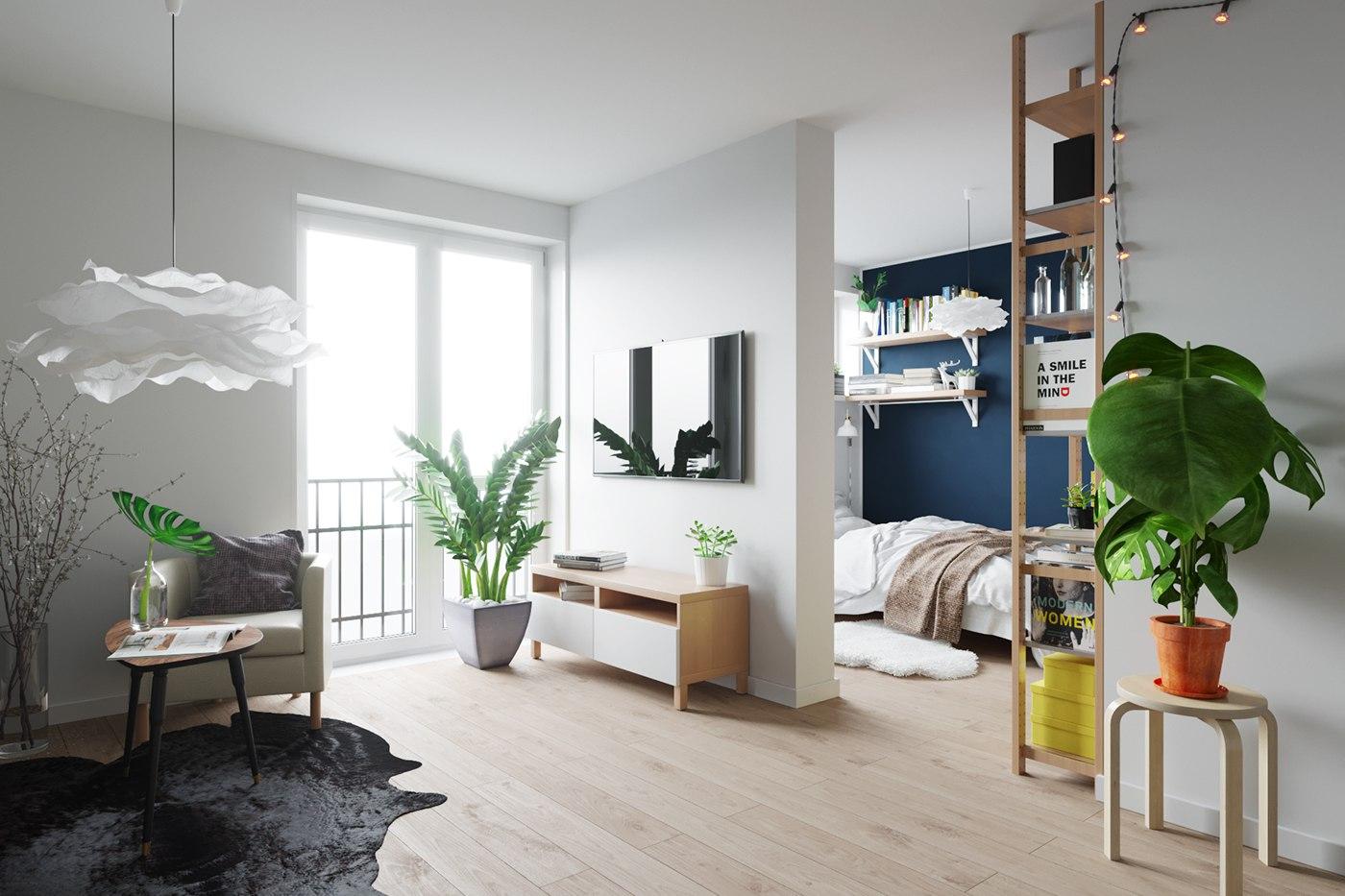 Дизайн-проект студии 30 м с мебелью ИКЕА.