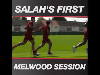 Take a behind-the-scenes look inside Melwood as @22mosalah trains with the Reds for the first time