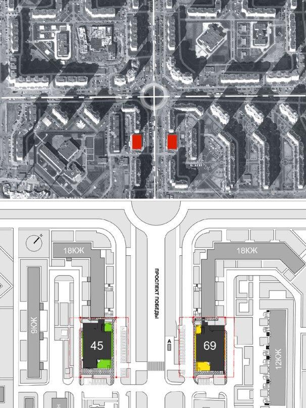 Магазины шаговой доступности «Стереопара».   © Архитектурное бюро