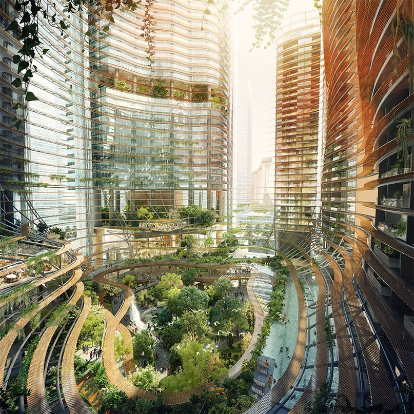 mixed-use marina one complex by ingenhoven architects