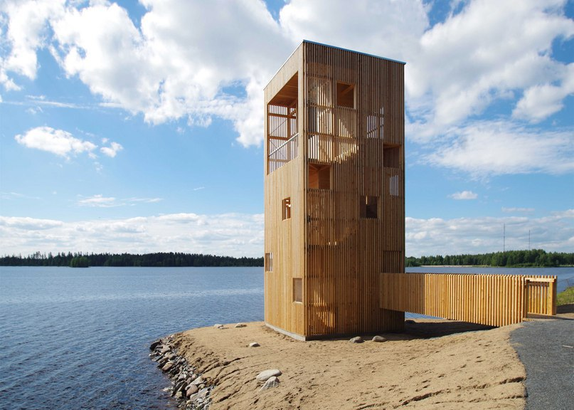 OOPEAA builds wooden Periscope Tower beside lake